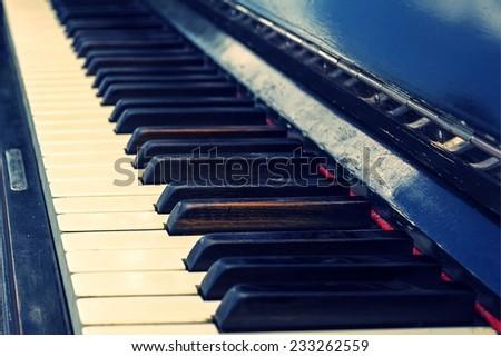 old vintage piano keys - stock photo