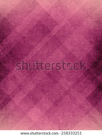 old vintage pink plaid background with random stripes lines triangles rectangles and diamond shapes in diagonal pattern with distressed weathered texture and faded white border design - stock photo