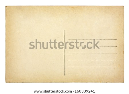 Old vintage postcard isolated on white background - stock photo