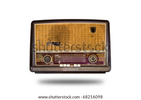 old vintage radio isolated - stock photo