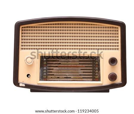 Old vintage radio isolated on white - stock photo