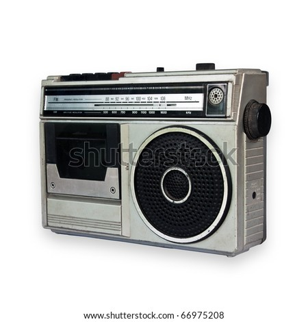 Old vintage Radio isolated on white background - stock photo