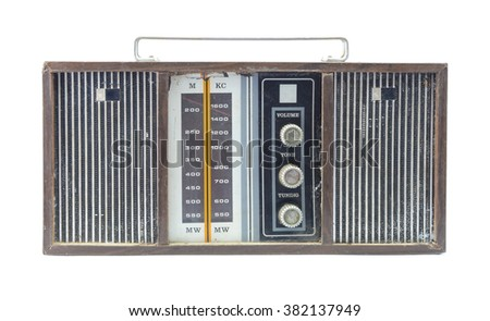 Old vintage radio on white background