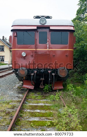 Old vintage railway carriage at the old railway outside Bergen in Norway