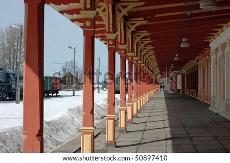 Old vintage railway station in Haapsalu at winter - stock photo