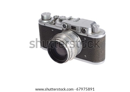 old vintage rangefinder camera isolated on white background
