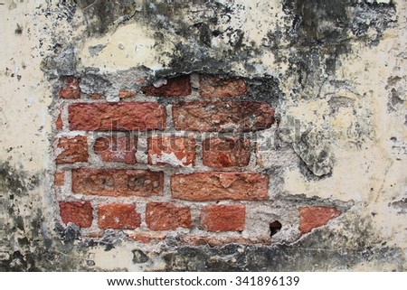 Old Vintage Red Brick Wall With Sprinkled White Plaster Texture Background. Dirty ruin red brick wall . old brick  in ruin wall pattern. - stock photo