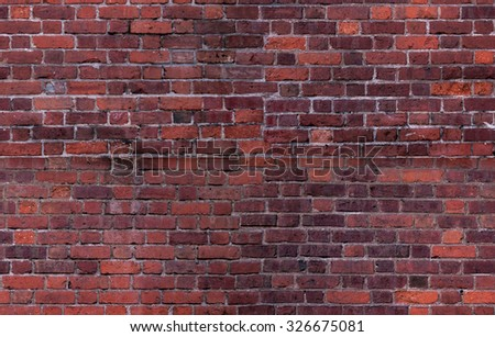 Old Vintage Red Brick Wall With White cement Background Texture