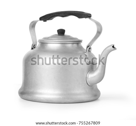 old vintage retro Kettle on white background with clipping path