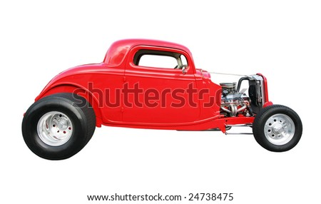 old vintage roadster car isolated on white background