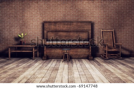 old vintage room with piano - stock photo