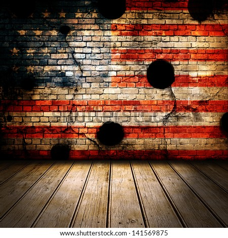 Old vintage room with wooden floor and USA flag on wall - stock photo