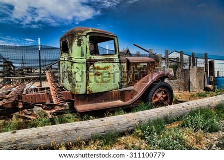 Old, vintage, rusty truck, Idaho, United States - stock photo