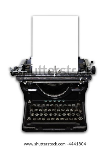 Old vintage 1940's style typewriter with white background