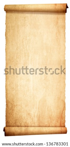 Old vintage scroll isolated on white background - stock photo