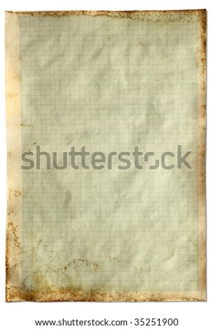 Old vintage stained graph paper isolated on a white background. - stock photo