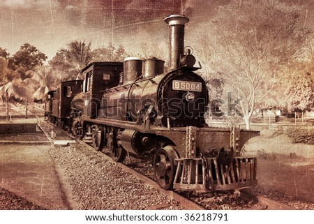old vintage steam train textured with scratch and grain
