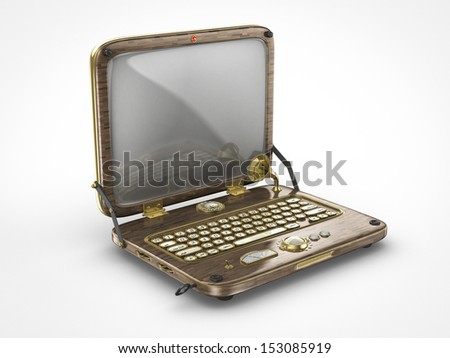 old vintage steampunk laptop computer - stock photo