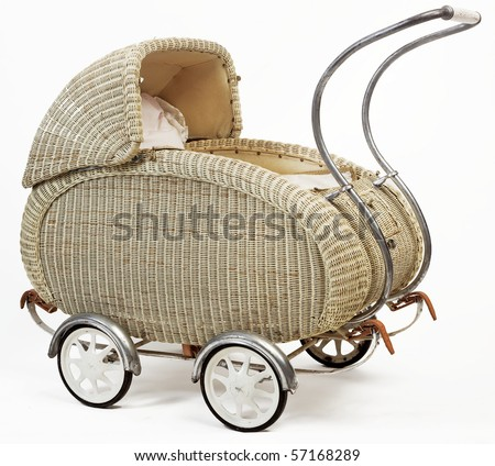 old vintage stroller - stock photo