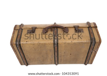Old vintage suitcase, isolated on white