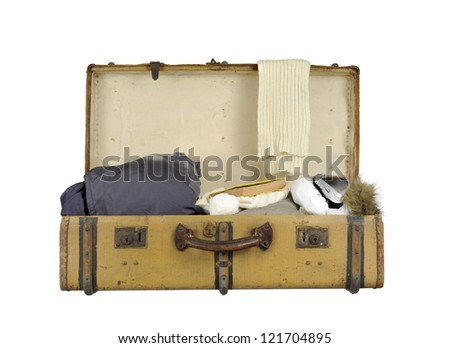 old vintage suitcase ski clothes; isolated on white - stock photo