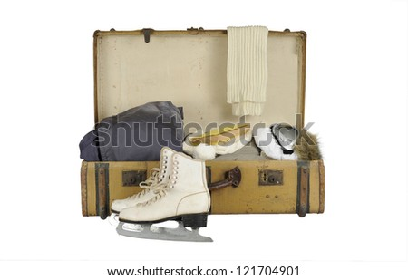 old vintage suitcase ski clothes; isolated on white