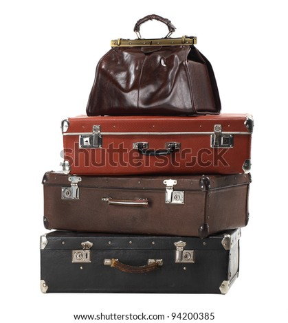 Old vintage suitcases isolated on white. Luggage - stock photo