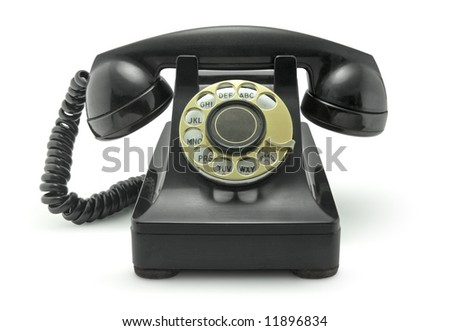 Old Vintage Telephone on White