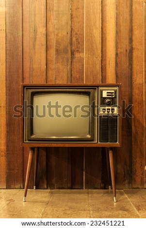 Old vintage television or tv - stock photo