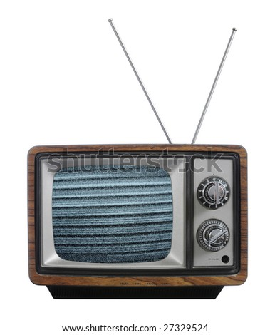 Old vintage television with no signal isolated against a white background - stock photo
