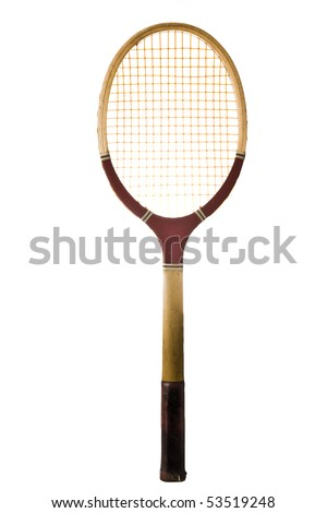 Old vintage tennis racket isolated on white - stock photo