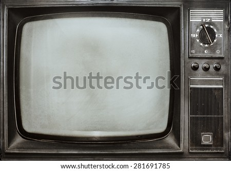 Old vintage TV  - stock photo