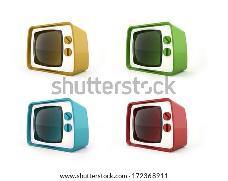 Old vintage TV concept in four colors  - stock photo