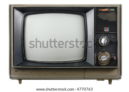 Old vintage TV isolated on a white background - stock photo