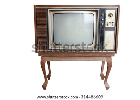 Old vintage TV  isolated on white - stock photo