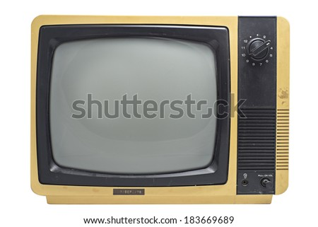 Old vintage TV ,  isolated white background