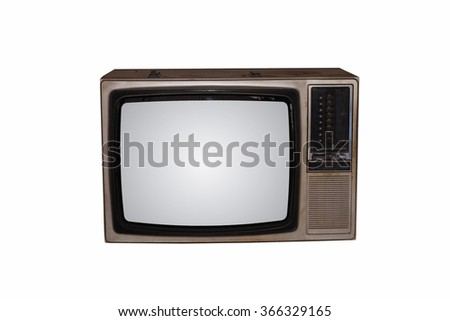Old vintage TV on White background