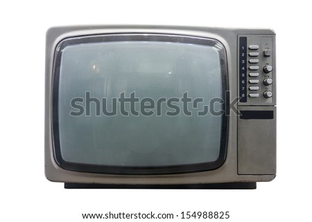 Old vintage TV over a white background - stock photo