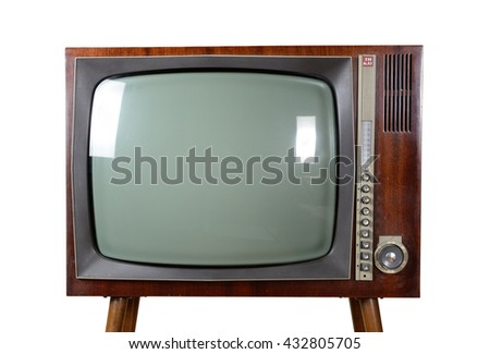 Old vintage TV over a white background with clipping-path - stock photo