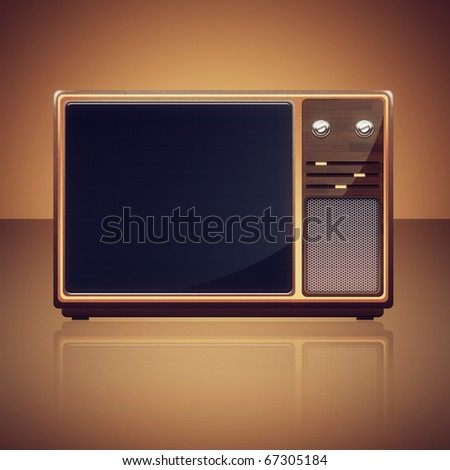 Old Vintage TV-set isolated - stock photo