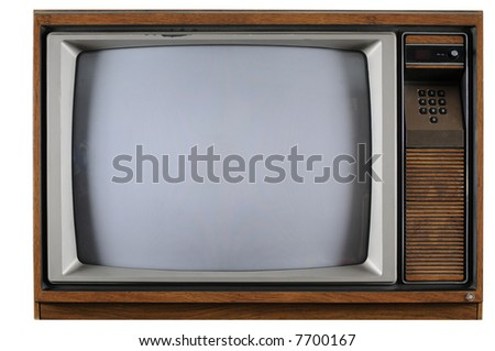 Old vintage TV with numerical buttons over a white background - stock photo