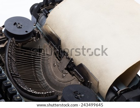 old vintage typewriter with paper