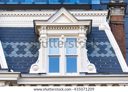 Old vintage Victorian architectural details. Victorian architecture. Victorian architecture is a series of architectural revival styles in the mid-to-late 19th century.