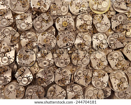 Old vintage watches mechanisms antique background - stock photo