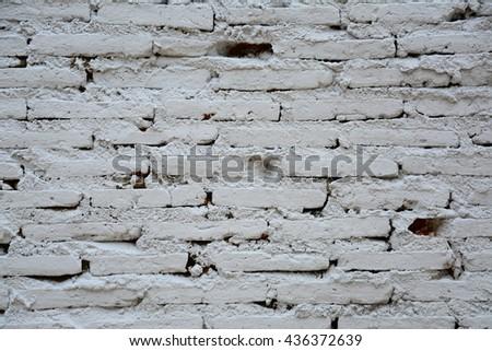 Old Vintage white brick wall texture background - stock photo
