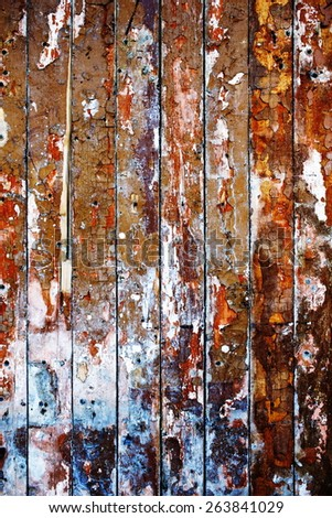 old vintage wooden background made of wood with cracked and worn paint - stock photo