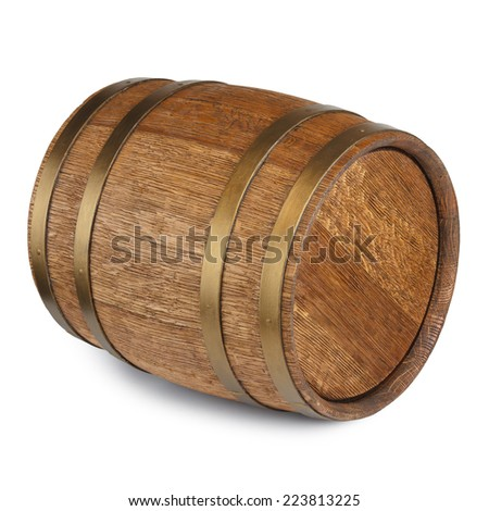 Old vintage wooden barrel isolated on white background - stock photo