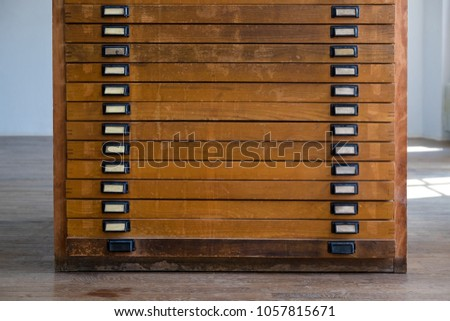 old vintage wooden cabinet with drawers with handles and plates might have been used for & Old Vintage Wooden Cabinet Drawers Handles Stock Photo \u0026 Image ...