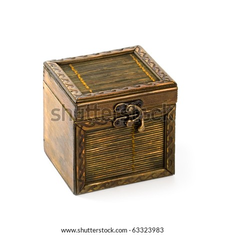 old vintage wooden casket isolated on white background - stock photo