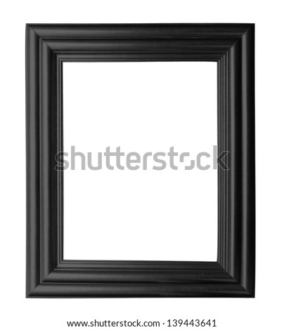Old vintage wooden frame isolated white background. - stock photo